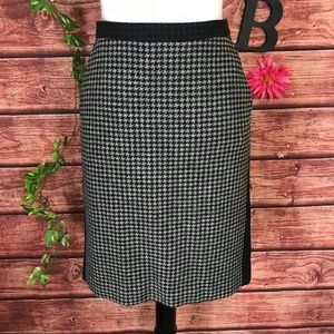 J Crew The Pencil Skirt 4 Black Gray Hounds Tooth